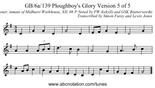 GB/6a/139 Ploughboy's Glory Version 5 of 5 - staff notation