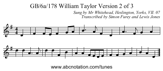 GB/6a/178 William Taylor Version 2 of 3 - staff notation