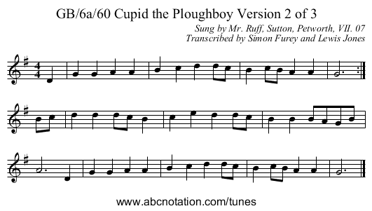 GB/6a/60 Cupid the Ploughboy Version 2 of 3 - staff notation
