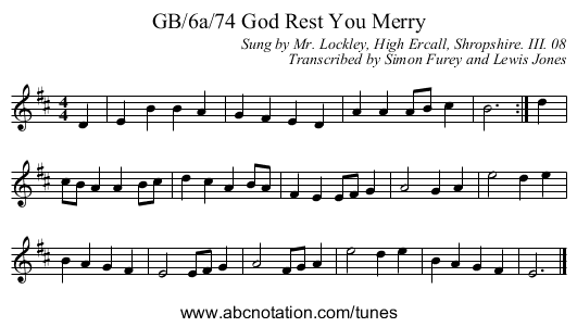 GB/6a/74 God Rest You Merry - staff notation