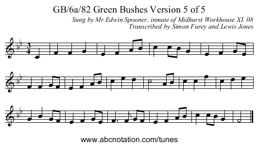 GB/6a/82 Green Bushes Version 5 of 5 - staff notation