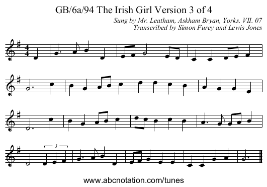 GB/6a/94 The Irish Girl Version 3 of 4 - staff notation