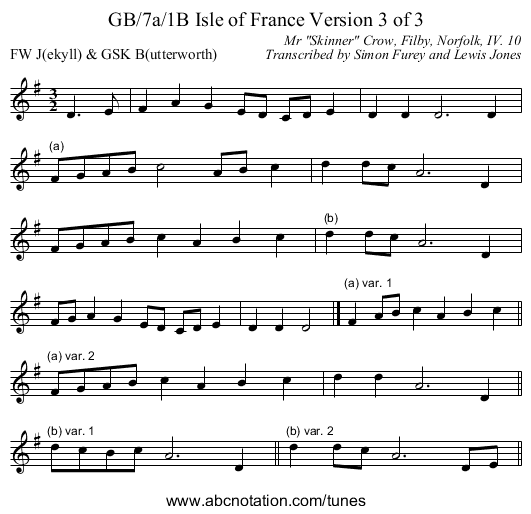 GB/7a/1B Isle of France Version 3 of 3 - staff notation