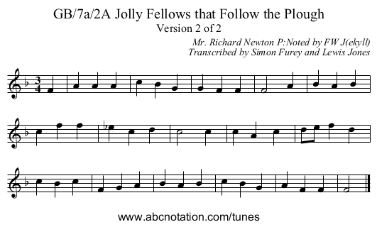 GB/7a/2A Jolly Fellows that Follow the Plough - staff notation