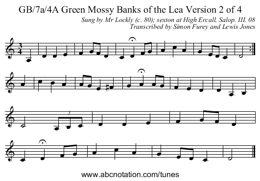 GB/7a/4A Green Mossy Banks of the Lea Version 2 of 4 - staff notation