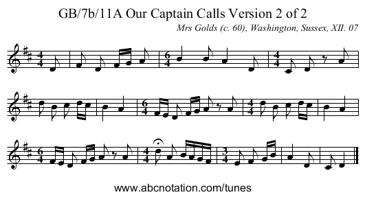GB/7b/11A Our Captain Calls Version 2 of 2 - staff notation