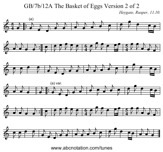 GB/7b/12A The Basket of Eggs Version 2 of 2 - staff notation