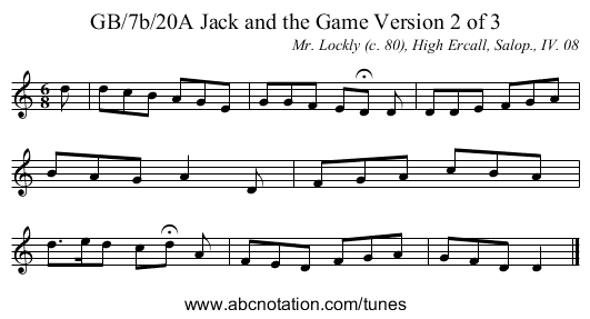 GB/7b/20A Jack and the Game Version 2 of 3 - staff notation