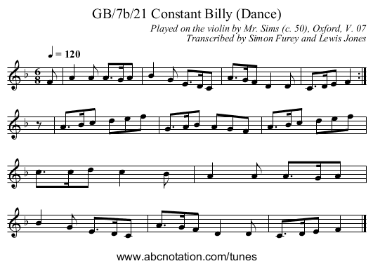 GB/7b/21 Constant Billy (Dance) - staff notation