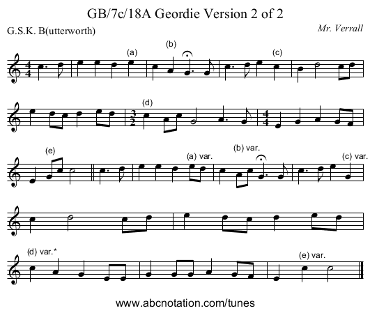 GB/7c/18A Geordie Version 2 of 2 - staff notation