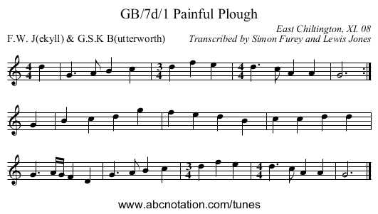 GB/7d/1 Painful Plough - staff notation