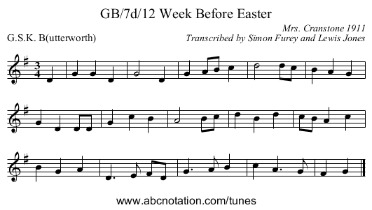 GB/7d/12 Week Before Easter - staff notation