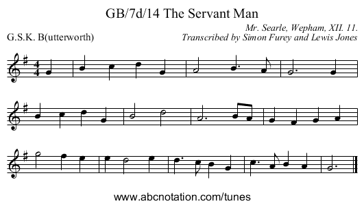 GB/7d/14 The Servant Man - staff notation