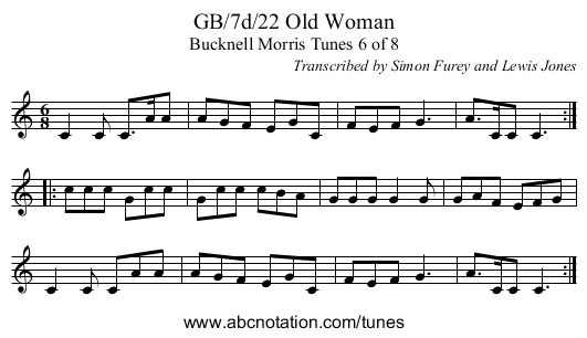 GB/7d/22 Old Woman - staff notation