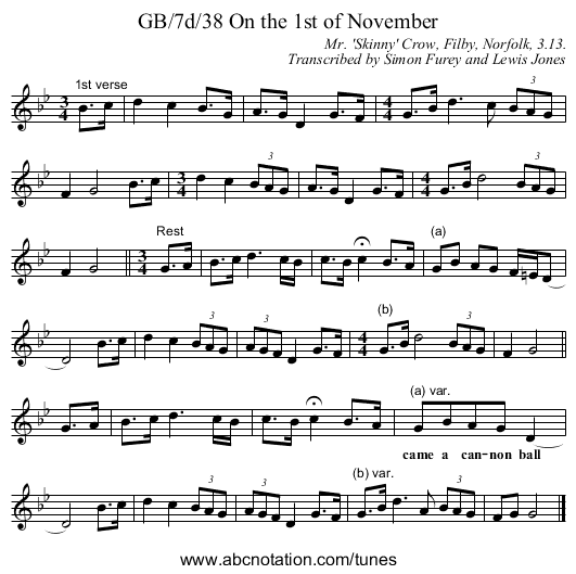 GB/7d/38 On the 1st of November - staff notation