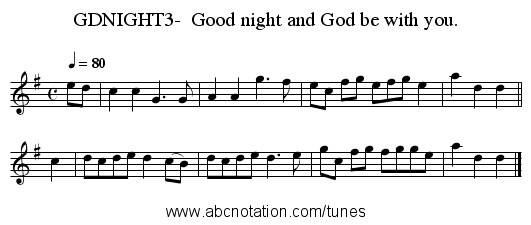 GDNIGHT3-  Good night and God be with you. - staff notation