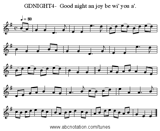 GDNIGHT4-  Good night an joy be wi' you a'. - staff notation