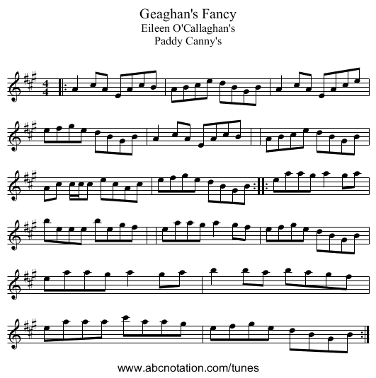 Geaghan's Fancy - staff notation