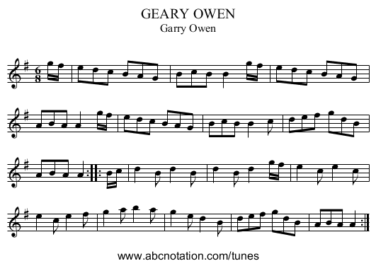 GEARY OWEN - staff notation