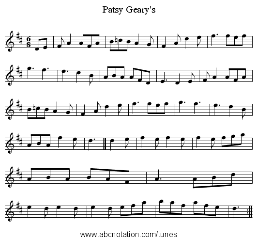 Geary's, Patsy - staff notation