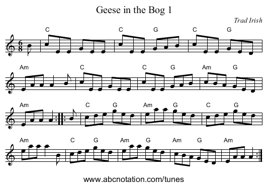 Geese in the Bog 1 - staff notation