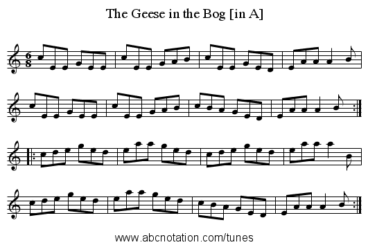 Geese in the Bog [in A], The - staff notation