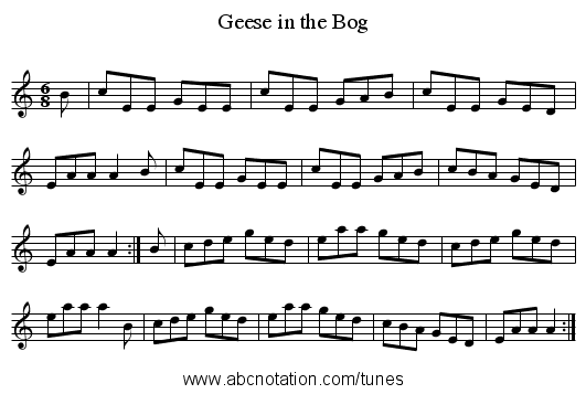 Geese in the Bog - staff notation