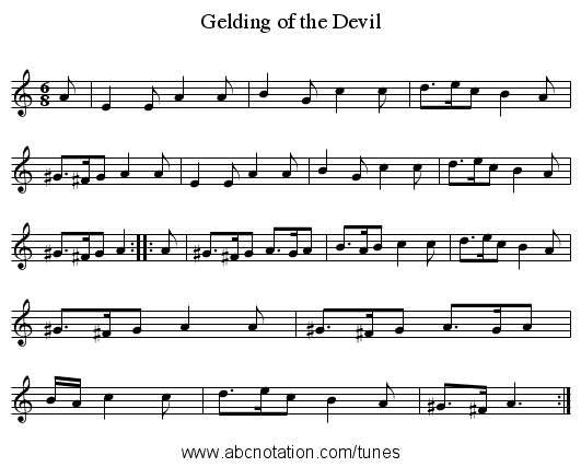 Gelding of the Devil - staff notation