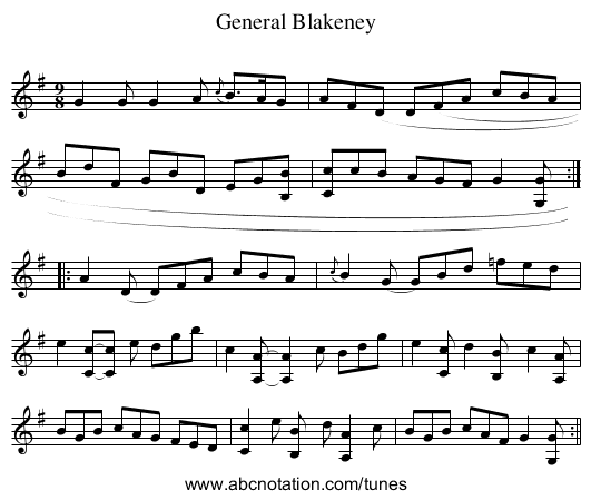 General Blakeney - staff notation