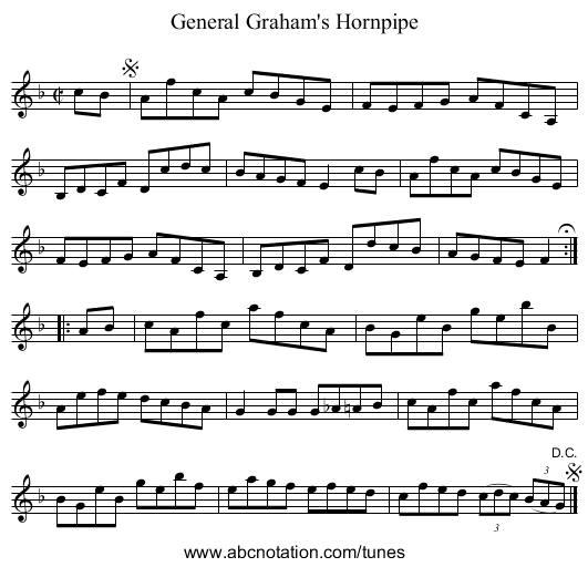 General Graham's Hornpipe - staff notation