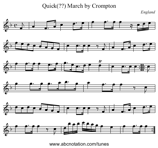 Genl. Carleton's Quick March - staff notation