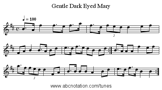 Gentle Dark Eyed Mary - staff notation