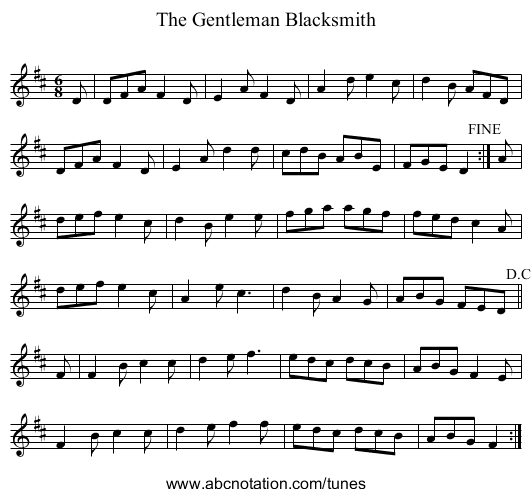 Gentleman Blacksmith, The - staff notation
