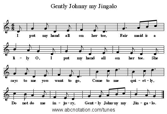 Gently Johnny my Jingalo - staff notation