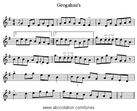 Geogahan's - staff notation