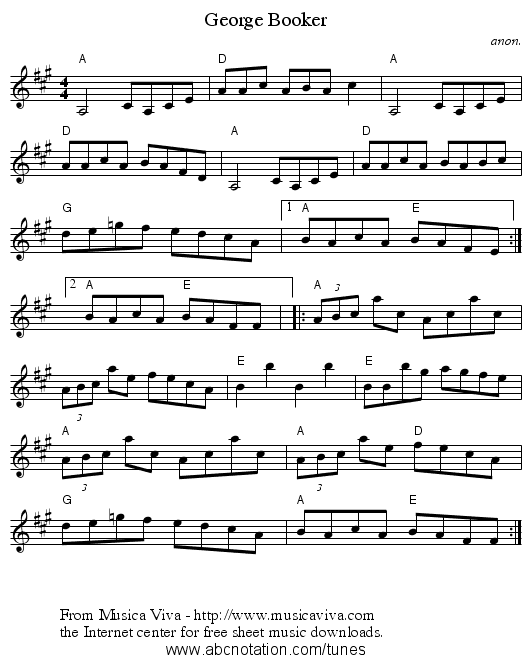 George Booker - staff notation