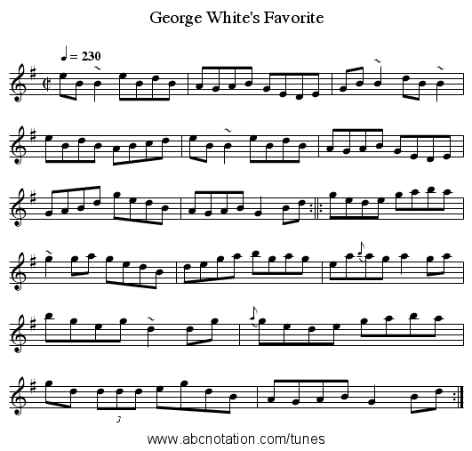 George White's Favorite - staff notation