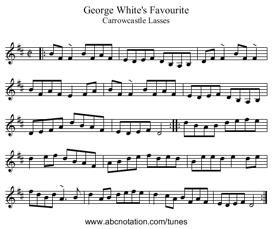 George White's Favourite - staff notation