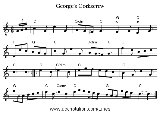George's Corkscrew - staff notation
