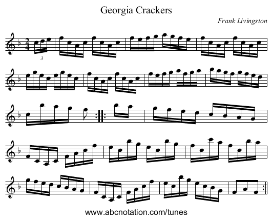 Georgia Crackers - staff notation