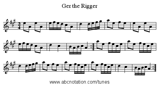 Ger the Rigger - staff notation