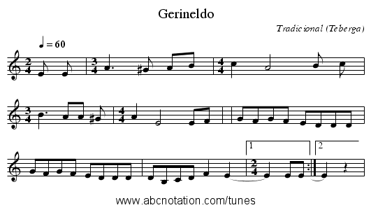 Gerineldo - staff notation