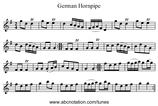 German Hornpipe - staff notation