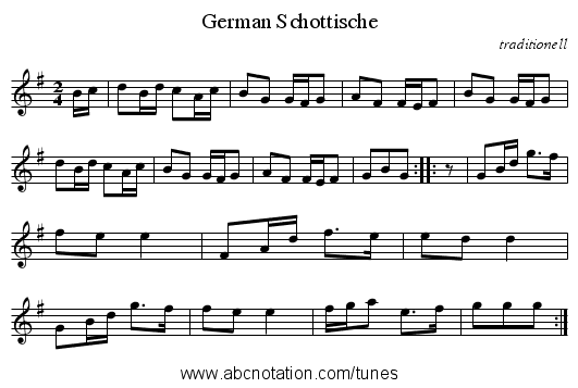 German Schottische - staff notation