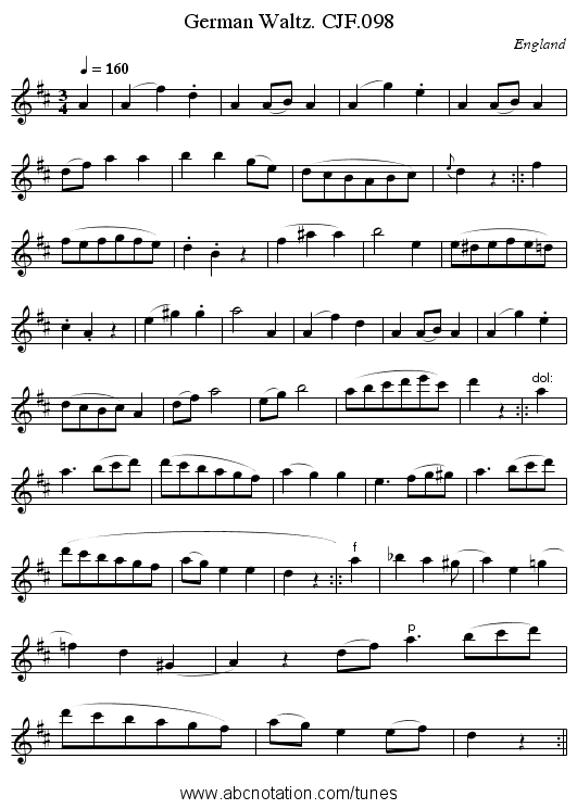 German Waltz. CJF.098 - staff notation