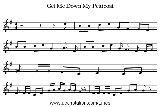 Get Me Down My Petticoat - staff notation