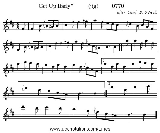 Get Up Early          (jig)         0770 - staff notation