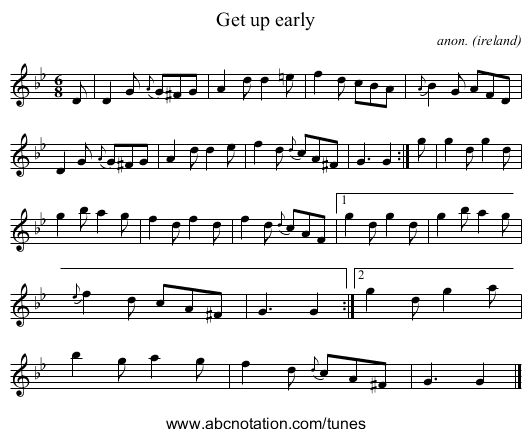 Get up early - staff notation