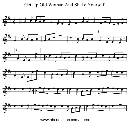 Get Up Old Woman And Shake Yourself - staff notation