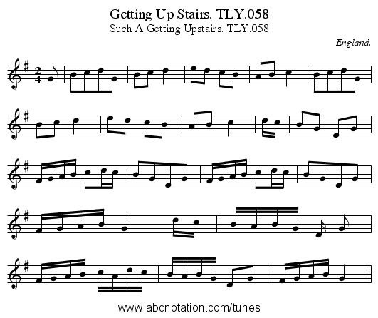 Getting Up Stairs. TLY.058 - staff notation